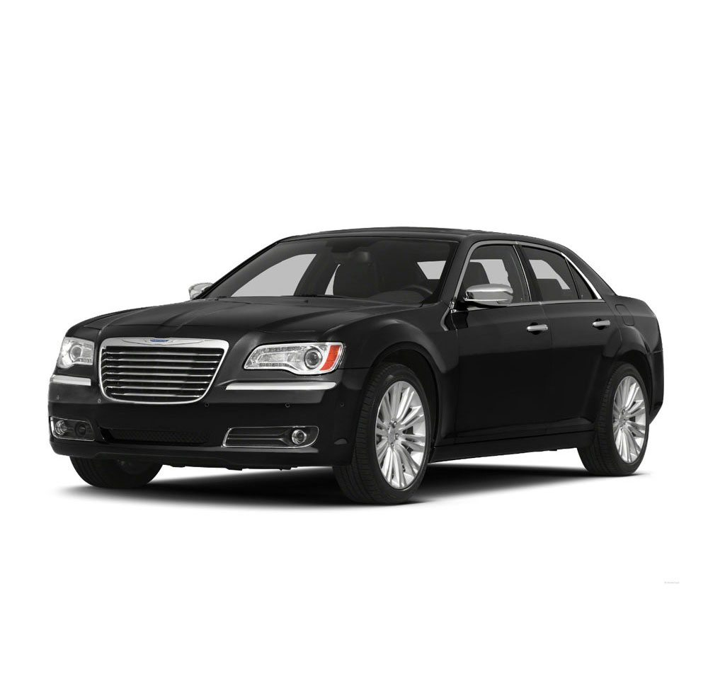 New black Chrysler 300 luxury sedan with shadow underneath facing slightly to the left