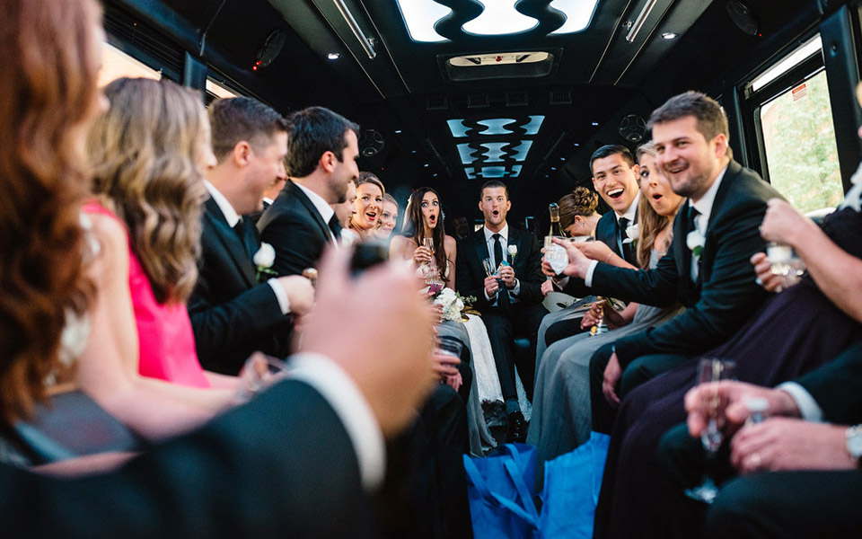 Wedding guest inside a limo